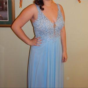 Long baby blue prom dress